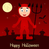 Cartão feliz de Dia das Bruxas do diabo vermelho Imagens de Stock