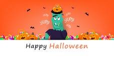 Cartão feliz de Dia das Bruxas, frankestein que come doces doces com abóbora bonito, época de férias da celebração, conceito dos  ilustração stock