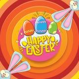 Cartão feliz de easter com coelho, texto caligráfico, nuvens, arco-íris e ovos da páscoa da cor crianças de easter do vetor Imagens de Stock Royalty Free