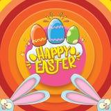 Cartão feliz de easter com coelho, texto caligráfico, nuvens, arco-íris e ovos da páscoa da cor crianças de easter do vetor Fotos de Stock