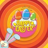 Cartão feliz de easter com coelho, texto caligráfico, nuvens, arco-íris e ovos da páscoa da cor crianças de easter do vetor Imagem de Stock