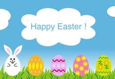 Cartão feliz de easter, ovos do coelho de easter Imagens de Stock Royalty Free