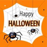 Cartão feliz de Halloween Ilustração lisa do vetor do projeto Fotos de Stock