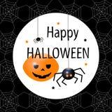 Cartão feliz de Halloween Ilustração lisa do vetor do projeto Fotografia de Stock