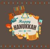 Cartão feliz de hanukkah ilustração do vetor