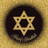 Cartão feliz de Hanukkah Estrela de David com efeito do brilho do ouro Fotografia de Stock