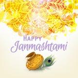 Cartão feliz de Janmashtam Foto de Stock