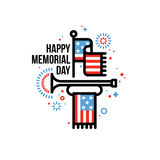 Cartão feliz de Memorial Day com bandeira americana e cornetim ilustração do vetor