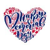 Cartão feliz de Memorial Day do vetor Texto da caligrafia no coração Ilustração americana nacional do feriado Cartaz festivo ou Fotografia de Stock Royalty Free