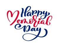 Cartão feliz de Memorial Day do vetor Texto da caligrafia no coração Ilustração americana nacional do feriado Cartaz festivo ou Foto de Stock Royalty Free
