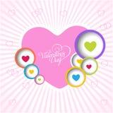Cartão feliz do amor do dia de Valentim com coração completo da cor Fotos de Stock Royalty Free