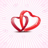 Cartão feliz do amor do dia de Valentim com coração vermelho no resumo Fotografia de Stock Royalty Free