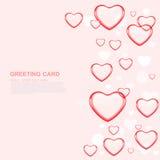 Cartão feliz do amor do dia de Valentim com coração vermelho no rosa Imagem de Stock Royalty Free