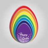 Cartão feliz do arco-íris do ovo da páscoa