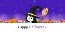 Cartão feliz do convite de Dia das Bruxas, doces, vassoura, brilho claro com a bruxa bonito da menina e abóbora, época de férias  ilustração stock