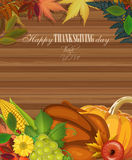 Cartão feliz do dia da ação de graças com grinalda Imagens de Stock Royalty Free