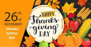 Cartão feliz do dia da ação de graças com rotulação no quadro do círculo do ouro ilustração royalty free