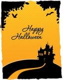 Cartão feliz do Dia das Bruxas com castelo Fotografia de Stock Royalty Free