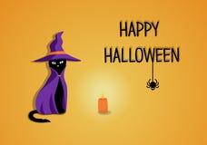 Cartão feliz do Dia das Bruxas com o gato na ilustração do vetor do traje ilustração stock
