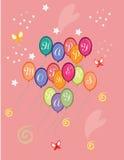 Cartão feliz do dia de mães com os balões coloridos vermelhos Fotos de Stock Royalty Free