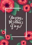 Cartão feliz do dia de matrizes Anemone Paper Flowers de florescência bonita Imagens de Stock Royalty Free