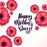 Cartão feliz do dia de matrizes Anemone Paper Flowers de florescência bonita no fundo branco Fotografia de Stock Royalty Free