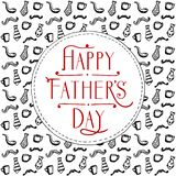 Cartão feliz do dia de pai, contexto do estilo da garatuja com bigodes, copos e gravatas ilustração royalty free