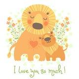 Cartão feliz do dia de pai Leão bonito e filhote Foto de Stock
