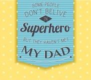 Cartão feliz do dia de pai super-herói, herói Imagens de Stock Royalty Free