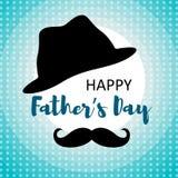 Cartão feliz do dia de pais com bigode e chapéu ilustração royalty free