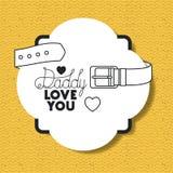 Cartão feliz do dia de pais com correia ilustração stock