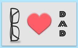 Cartão feliz do dia de pais, paizinho do coração de I com vidros Fotografia de Stock Royalty Free