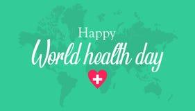 Cartão feliz do dia de saúde de mundo, com cor verde ilustração royalty free