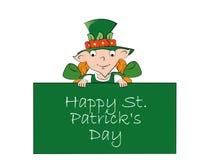Cartão feliz do dia de St Patrick Menina do duende ilustração stock