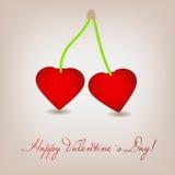 Cartão feliz do dia de Valentim com coração da cereja. Imagens de Stock Royalty Free