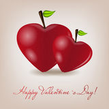 Cartão feliz do dia de Valentim com coração da maçã. Vetor Fotos de Stock Royalty Free