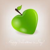 Cartão feliz do dia de Valentim com coração da maçã. Vetor Fotografia de Stock