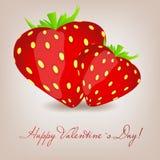 Cartão feliz do dia de Valentim com coração da morango. Ilustração do Vetor