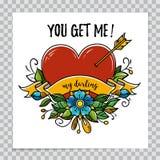 Cartão feliz do dia de Valentim com coração, flor, texto fotos de stock