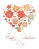 Cartão feliz do dia de Valentim com coração floral Foto de Stock Royalty Free