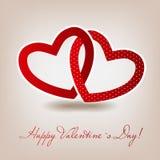 Cartão feliz do dia de Valentim com coração. Vetor Fotografia de Stock Royalty Free