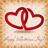 Cartão feliz do dia de Valentim com coração. Vetor Fotos de Stock Royalty Free