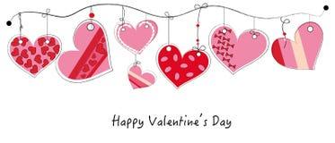 Cartão feliz do dia de Valentim com fundo de suspensão do vetor do coração da garatuja Imagens de Stock Royalty Free