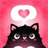 Cartão feliz do dia de Valentim com gato e coração Foto de Stock Royalty Free