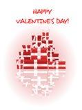 Cartão feliz do dia de Valentim com a pilha de presentes Fotos de Stock Royalty Free