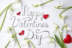 Cartão feliz do dia de Valentim com snowdrops no branco imagens de stock royalty free