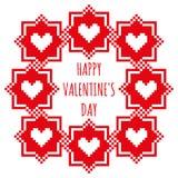 Cartão feliz do dia de Valentim com um quadro vermelho em um fundo branco Fotografia de Stock Royalty Free