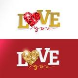 Cartão feliz do dia de Valentim do AMOR ilustração stock