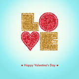 Cartão feliz do dia de Valentim, eu te amo, tipo da fonte ilustração do vetor