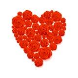 Cartão feliz do dia de Valentim Forma branca do coração em Rose Flowers Background Imagens de Stock